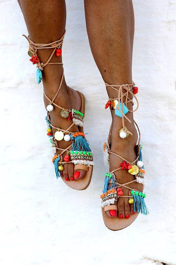 Sandalias gladiador Menta Mojitos hecha a mano a por ElinaLinardaki