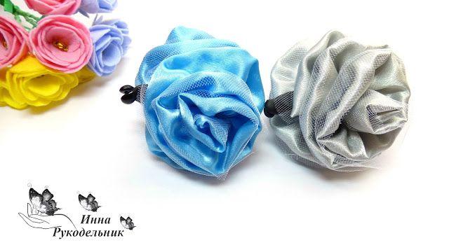 Блог Инны Рукодельник: Заколка банан для волос с цветами из ткани