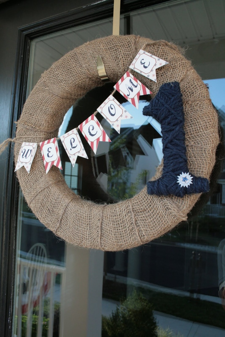 """Wreath - I like the idea of the burlap wrapped wreath.  Can switch """"welcome"""" to """"Landon"""" and change blue 1 to red:)"""