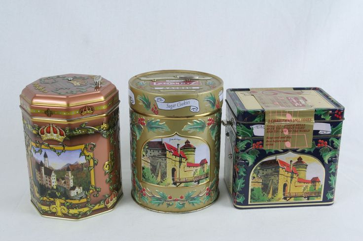 Set of 3 Lambertz Aachen Sugar Cookie Musical Tins Cans - Gold, Red, Blue-unopen #Lambertz
