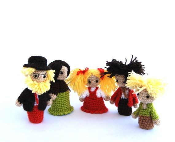 Orange Green family puppets crocheted father mother by crochAndi, $44.24