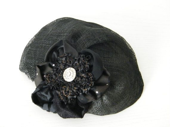 Black 30s style cocktail hat / black summer hat / Kate by RanaHats