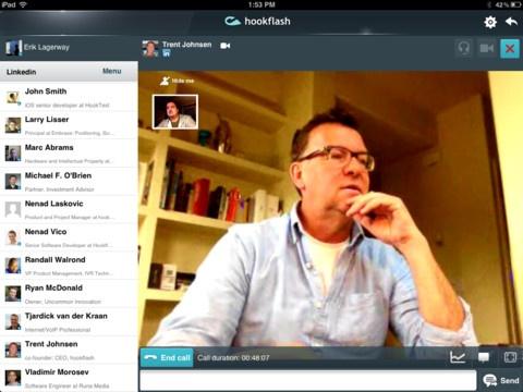 Hookflash. Appels vidéo pour Linkedin sur iPad.