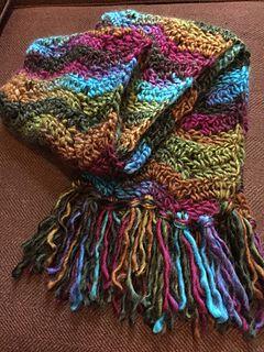 Sutton chevron scarf - Free crochet pattern by Isaac Mizrahi at Michaels.com(super chunky yarn). Click '+ View More' below Abbreviations on the web page for the pattern. http://www.michaels.com/isaac-mizrahi-craft-sutton-chevron-scarf/B_55961.html#start=8