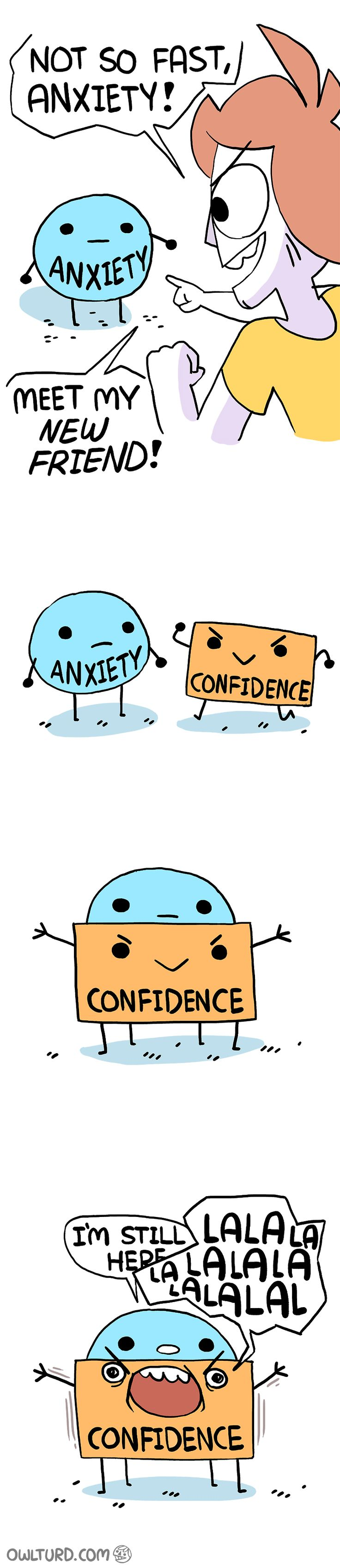 [Image] Tricking anxiety (Comic by owlturd.com)