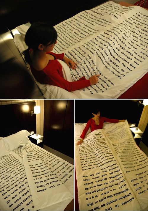 "This blanket, designed by Tiago da Fonseca, has several sheets containing a traditional bedtime story. Each ""page"" adds a layer of linen making you warmer (or cooler) and comfier hopefully guiding you and your partner into a pleasant night's sleep."