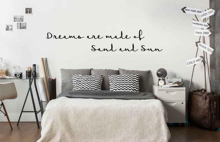 """Wandtattoo für dein Schlafzimmer """"Dreams are made of sand and sun"""" #Wandaufkleber #Wandsticker #Wandbild #Wohnideen #Wohndekoration #Dekoration #Schlafzimmer #kreative #Wandgestaltung"""