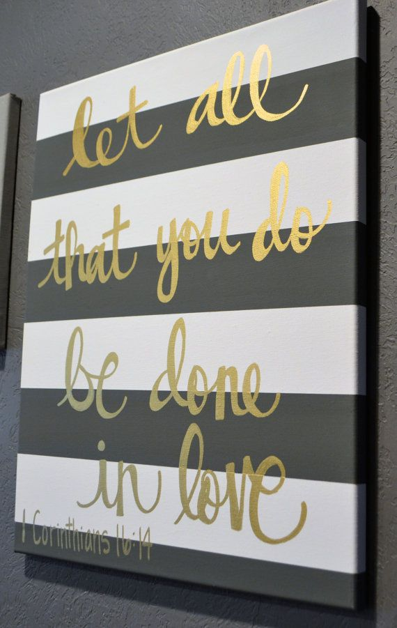 emerald earrings Hand Lettering Bible Verse Canvas Painting Canvas Wall Hanging Sign Gray Striped Gold Calligraphy Typography Wall Art Wall Decor Home Decor