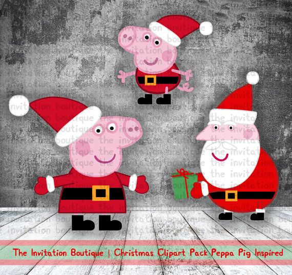 PEPPA PIG Clipart Christmas Pack includes Peppa, George and Santa