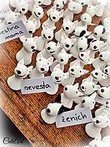 Bullterrier wedding name tags made from a polymer clay...
