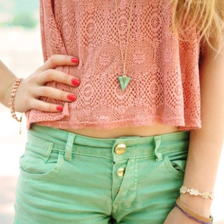 mix mint green and coral. <3