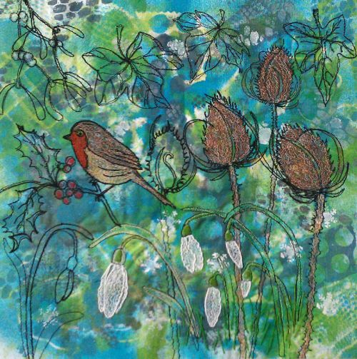 Robin and snowdrops created with free motion quilting and machine embroidery.