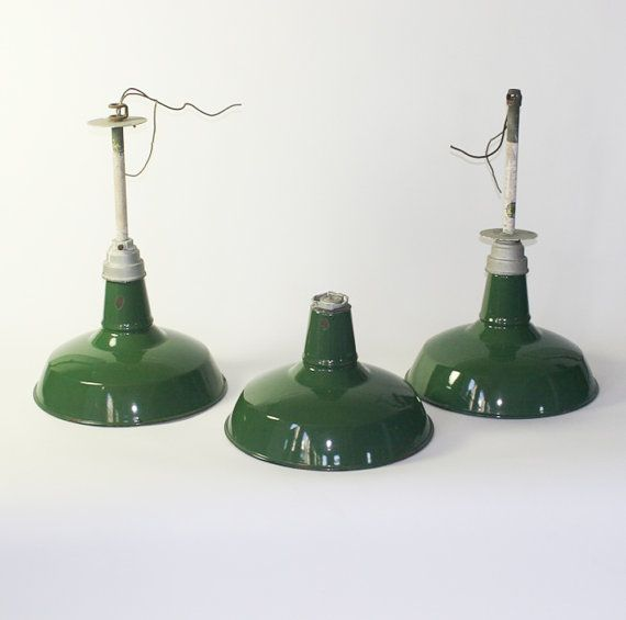 Vintage Industrial Enamel Pendant Light: Set Of Three Antique Industrial Enamel Pendant Light
