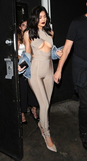 Is under-boob the new side-boob? Kylie Jenner seems to think so, stepping out in this daring cutout jumpsuit.