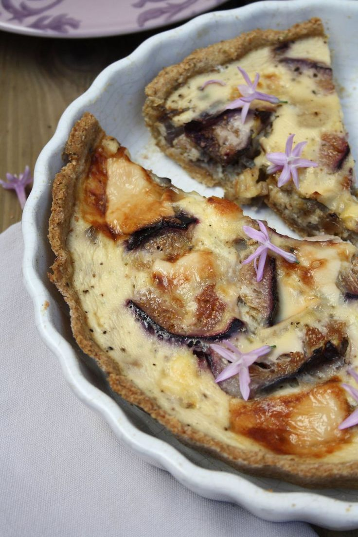 Fig, Goat's Cheese and Caramelised Red Onion Quiche with Easy Olive Oil Pastry