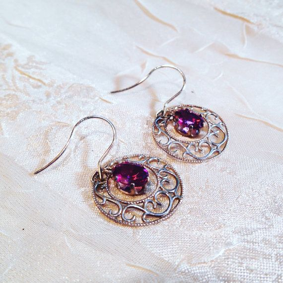 Rhodolite Garnet & Sterling Silver Earrings by NorthCoastCottage