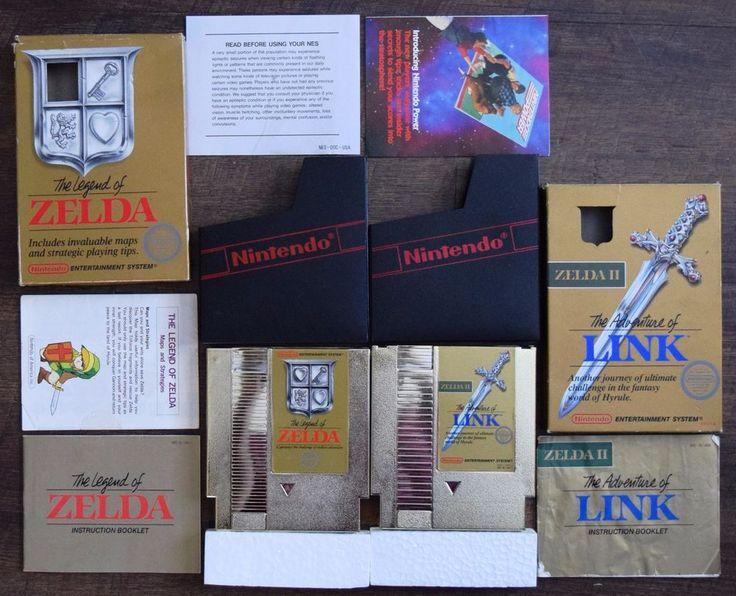 Legend of Zelda 1 + 2 NES Complete In Box CIB 5 Screw Gold Cartridge 1st Release    eBay