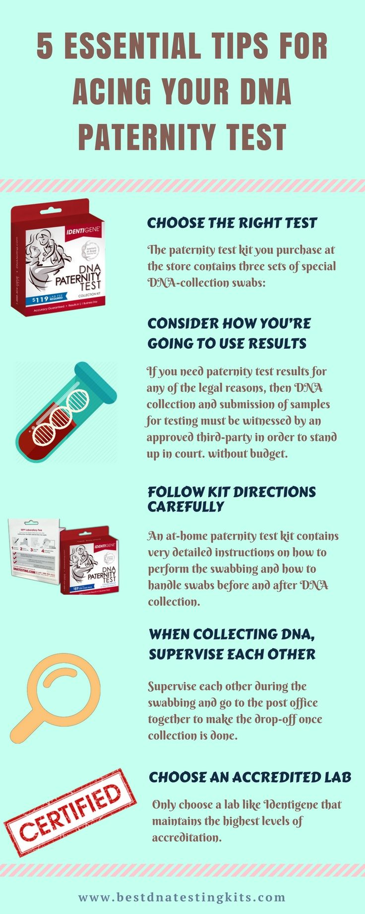 5 Essential Tips for Acing your #DNA Paternity Test Hello, Friends...This infographic is based on How to test DNA at home. Be careful and safe tested this type of test. Firstly you follow kit instruction, and then you want to check your DNA.  Read more information at here. https://bestdnatestingkits.com/