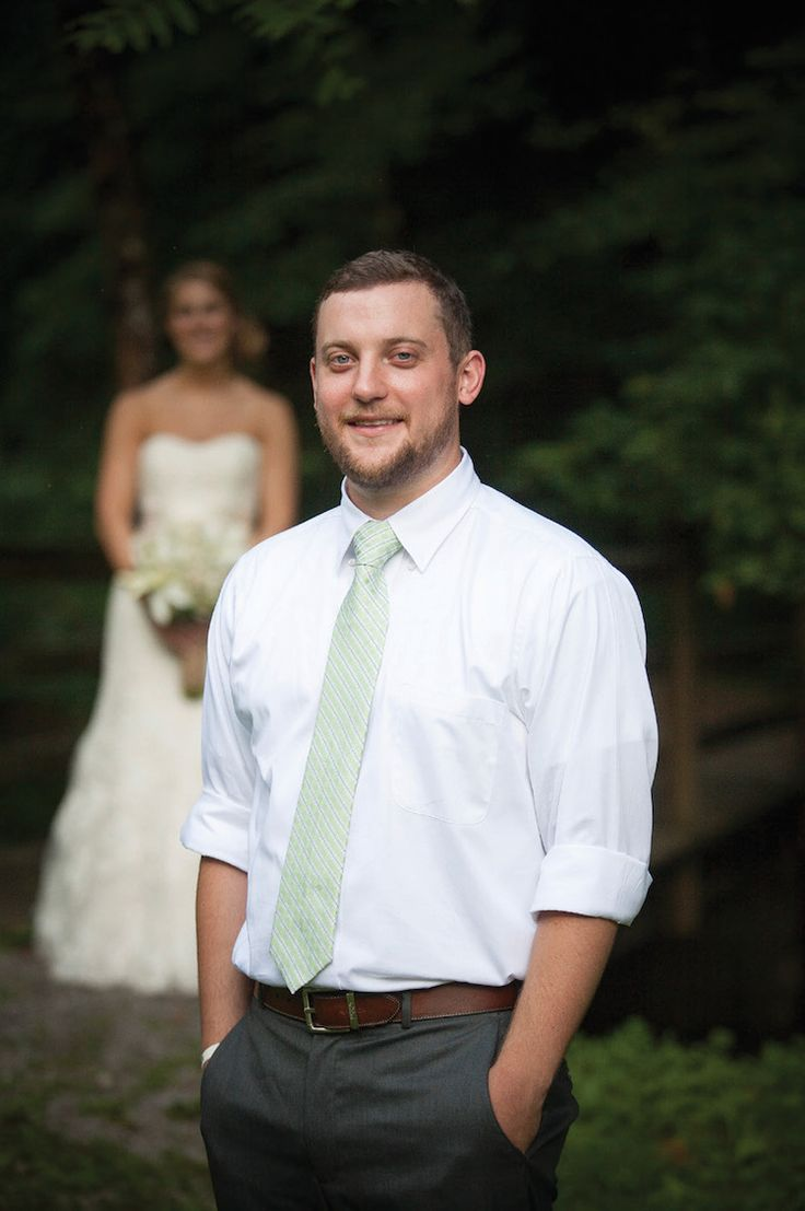 Casual groom attire - white shirt and tie. See more from this casual Smoky Mountain wedding at The Lily Barn! Pic: Hope Photography | The Pink Bride www.thepinkbride.com