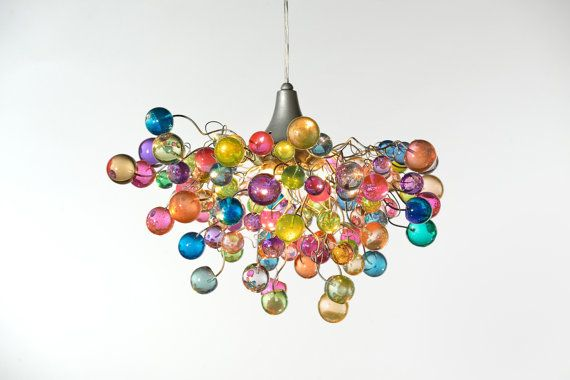 Lighting hanging chandeliers with Pastel bubbles for girls bedroom, living  room, bathroom or dinning table.