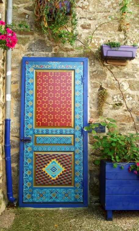 Colorful stenciled door. Douarnenez, Finistère, France