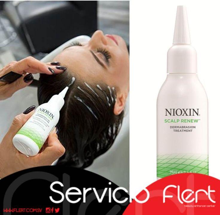Cuidado del cuero cabelludo. El tratamiento de cuero cabelludo Scalp Renew Dermabraison de Nioxin es un producto innovador que rejuvenece y revitaliza el cuero cabelludo, dejándolo mucho más fresco. Este tratamiento exfoliante suave utiliza la tecnología de la dermoabrasión para eliminar el exceso de piel del cuero cabelludo, además de promover la regeneración de la superficie de la piel en un 34%.  Haz tu cita #BellaSoloEnFlert.