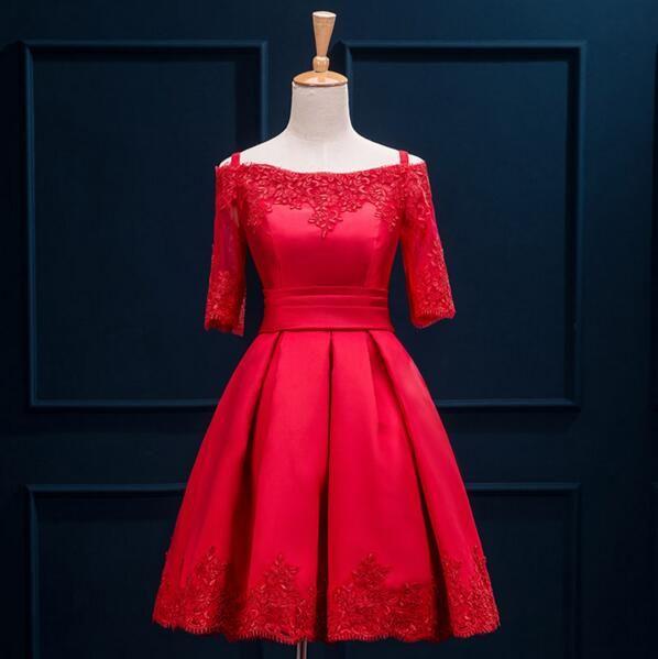 Short Sleeve Prom Dress,Red Prom Dress,Lace Prom Dress,Short Homecoming Dress,Lace up Homecoming Dress