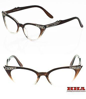 50s-Vintage-Retro-Cat-Eye-Gradient-Frame-Women-Clear-Lens-Eyeglasses-Rhinestone