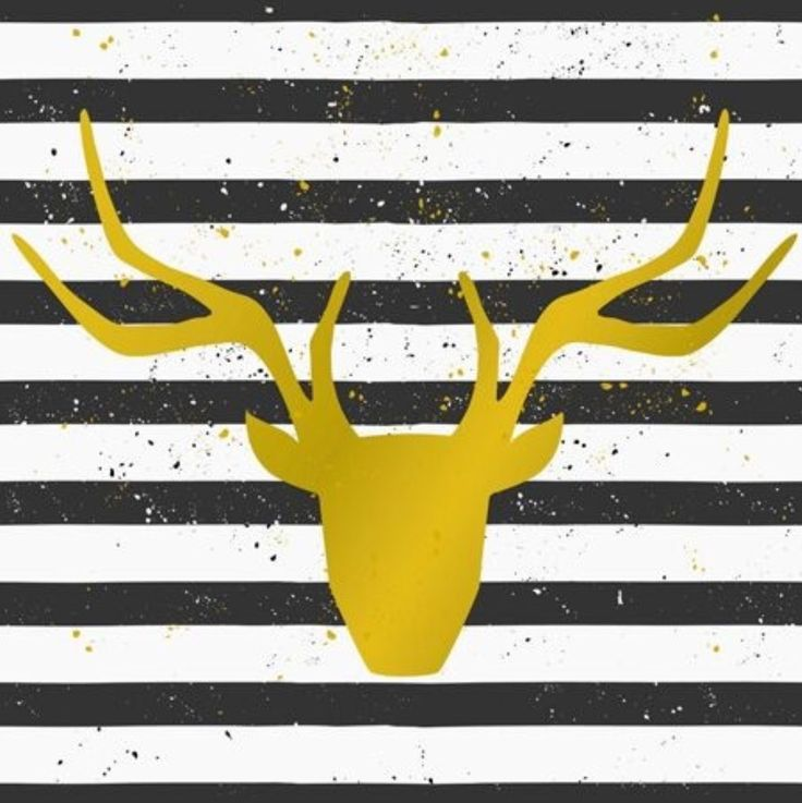 Gold Stag Head Canvas