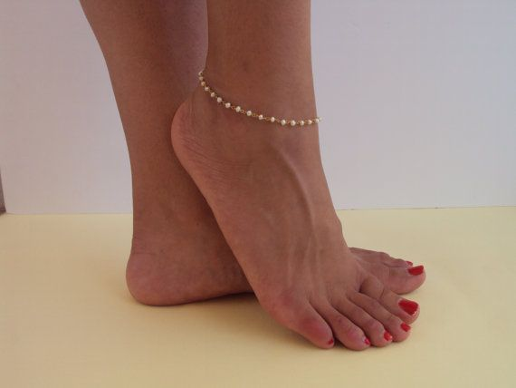 Gold Anklet  Beach Anklet  Foot Jewelry  Pearl by VasiaAccessories