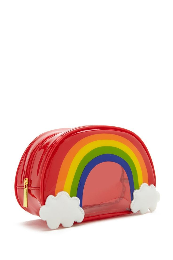 A Partially Clear Makeup Bag Featuring A Rainbow Design And Zip Up