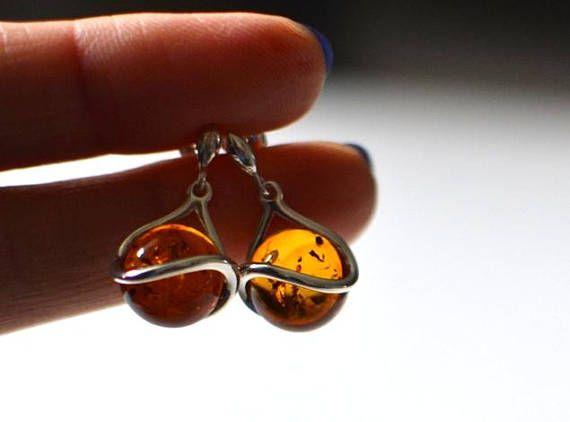 Cognac Amber Earrings Amber Jewelry stud amber Earrings