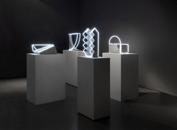morgane tschiember's fluorescent lighting tube sculptures play with perception  www.designboom.com