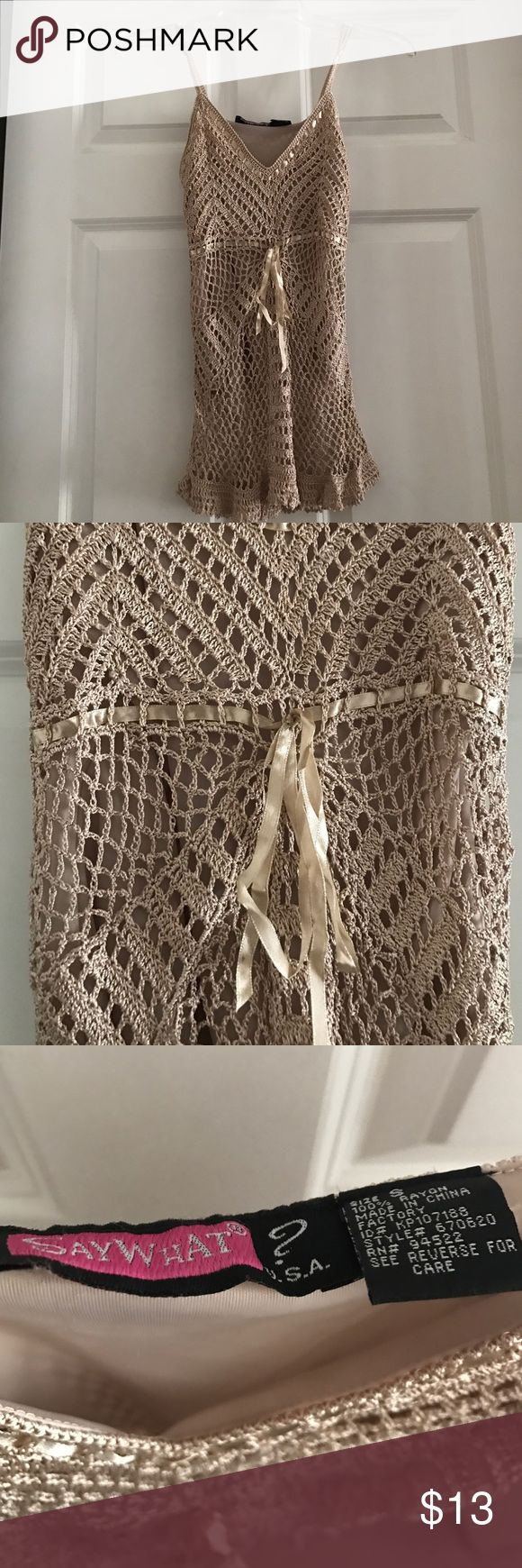 Light beige lace tank top Light beige lace tank, worn once. Say What? Tops Tank Tops