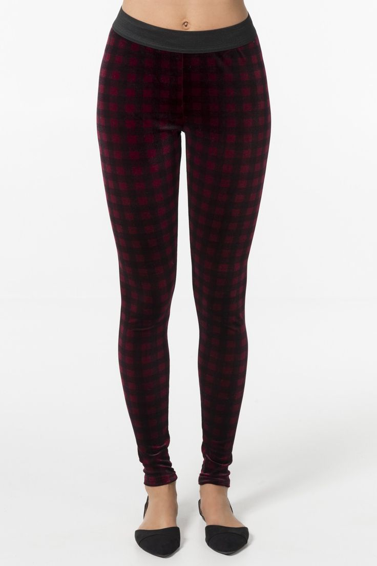 Bordeaux plaid velvet leggings