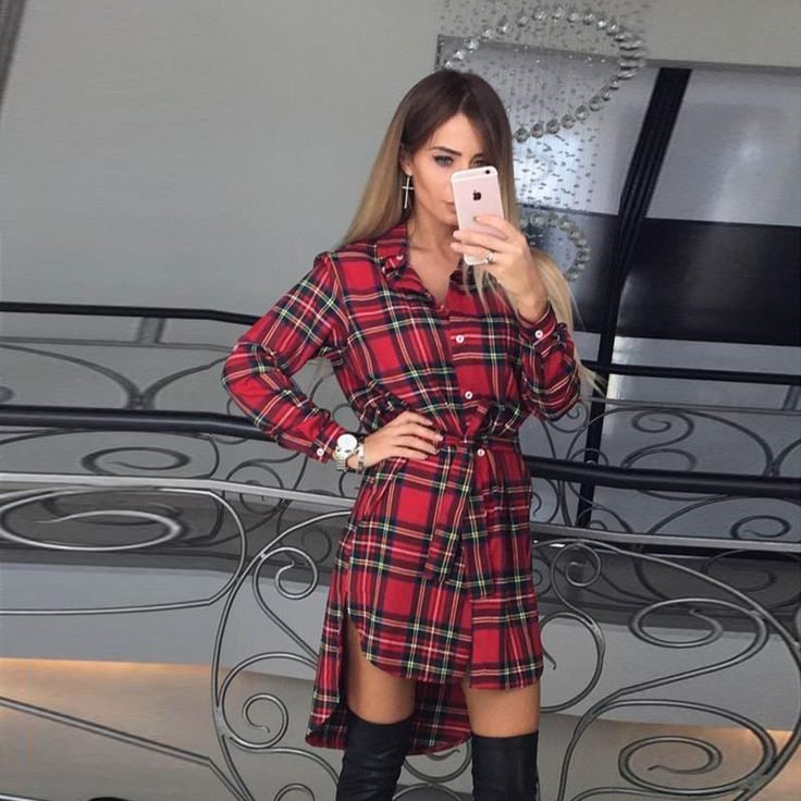 Price-7$   Women Blouses Long Sleeve Plaid Shirts Turn Down Collar Shirt Casual Tunic Feminine Irregular Blouses Plus Size Tops LJ5932M