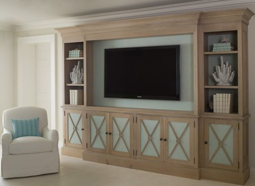 cool - but I would add nautical prints on doors to cover the tv...like the surround