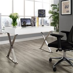 Ultra Cool Modern Writing Desk With White Operating Surface And Chrome Metal Legs An Absolute