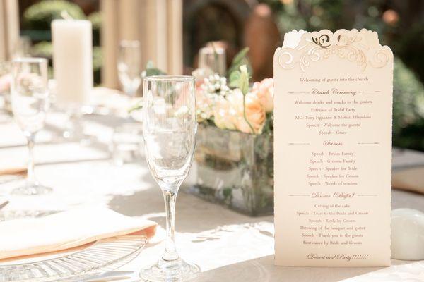Laser-cut wedding menus. Photo by Jessica Notelo. #rosegold #lasercut #menu #tabledecor #weddingdecor #weddingstationery #beautiful #wedding #photography #jessicanotelo