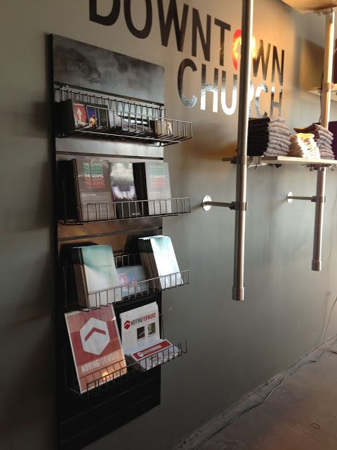Must have this in the first foyer (welcoming area). Have pamphlets about manna project, missions, church etc.