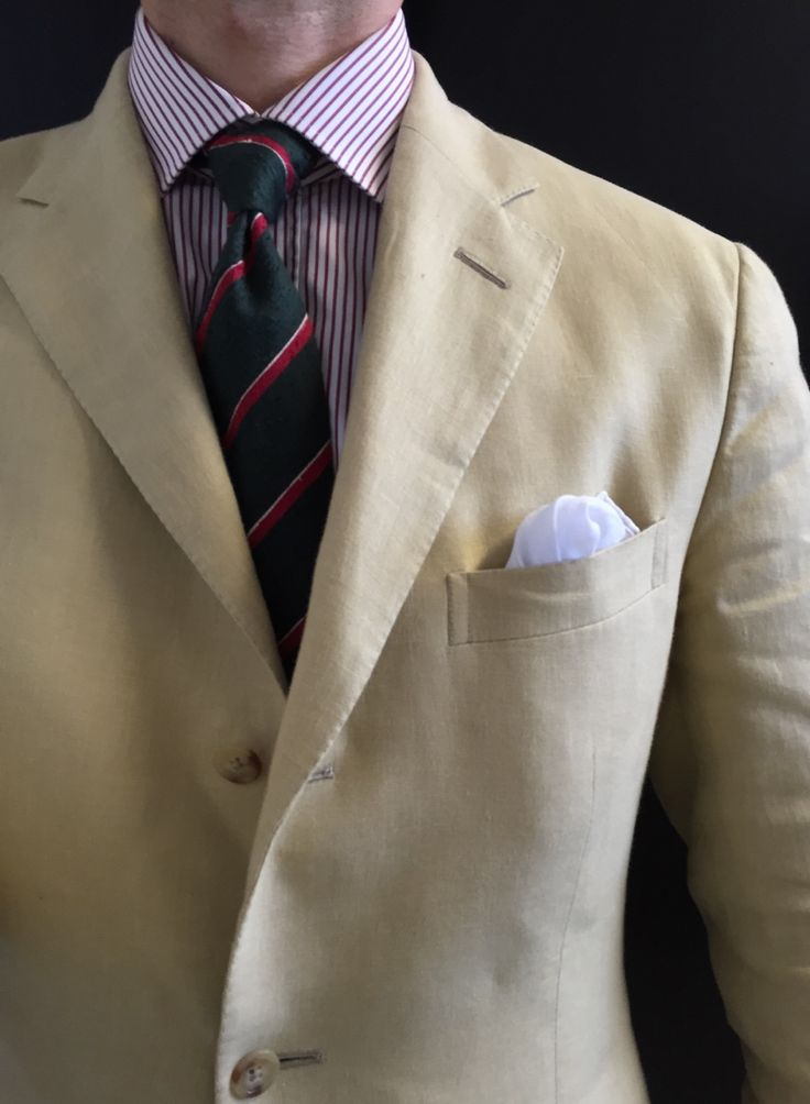 Summer Texture. Polo Ralph Lauren linen jacket Truzzi shirt Vanda unlined shantung tie White cotton pocket square Of note, I thrifted the jacket, shirt, and pocketsquare for $12 total.