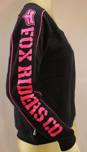 Fox Racing black scoop neck sweatshirt with pink logos