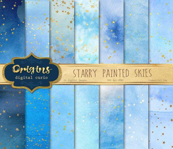 Starry Painted Skies Digital Paper gold by OriginsDigitalCurio