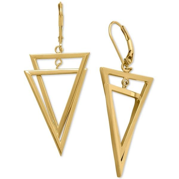 Interlocking Triangle Dangling Drop Earrings in 14k Gold ($800) ❤ liked on Polyvore featuring jewelry, earrings, accessories, yellow gold, drop dangle earrings, 14 karat gold jewelry, gold earrings, gold jewellery and 14k gold jewelry