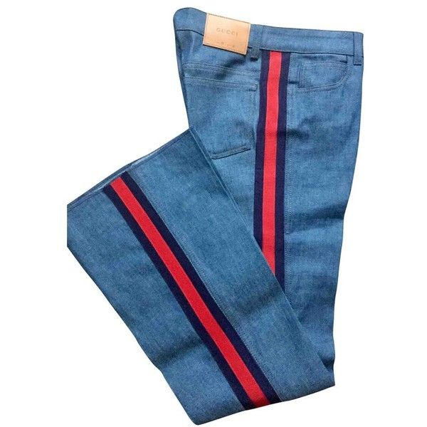 db45f12420 Blue Cotton elasthane Jeans GUCCI (€460) ❤ liked on Polyvore featuring jeans,  blue jeans, gucci jeans and gucci
