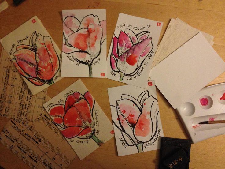 etegami : 絵手紙 - Peinture japonaise - Nihonga