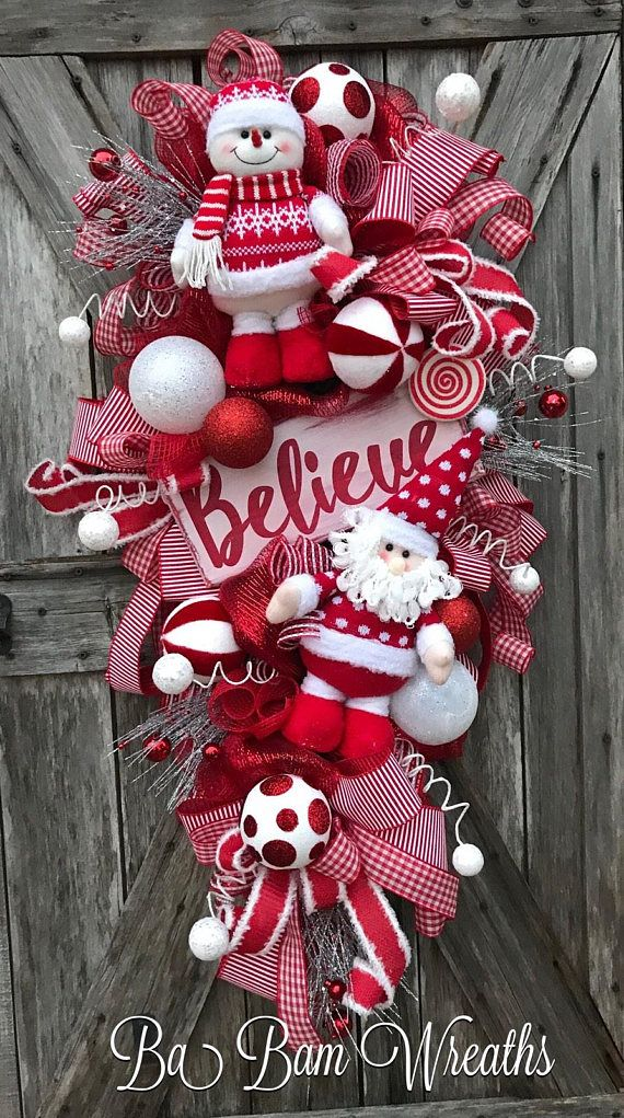 Believe, Christmas Wreath, Gingerbread Wreath, Gingerbread Decor, Holiday Wreath BELIEVE ☃️❤️☃️ Greet the season with this XL beauty featuring the CUTEST Santa & Snowman in their warm fuzzy Christmas sweaters and featuring a beautiful Believe sign! Checkered ribbons, ornaments,