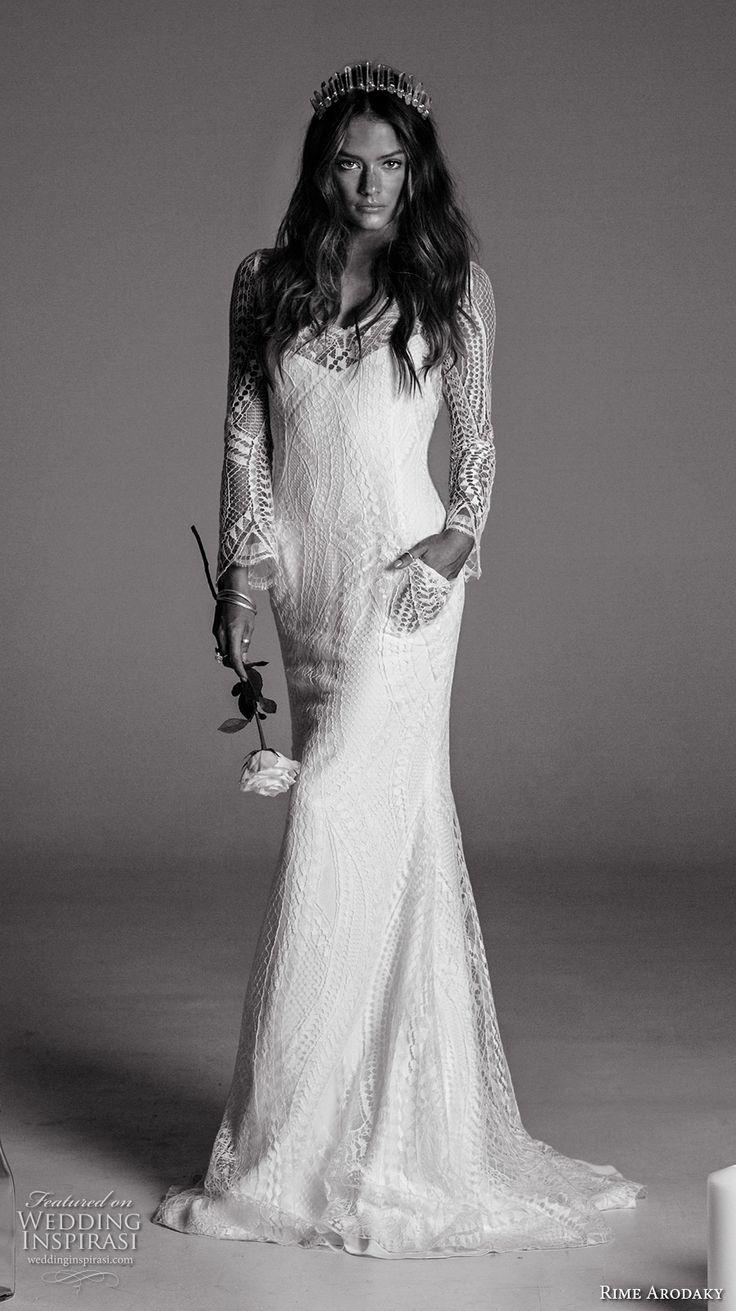 rime arodaky fall 2017 bridal long sleeves illusion scoop neckline full embellishment lace elegant sheath wedding dress with pockets low back strap sweep train (1) mv