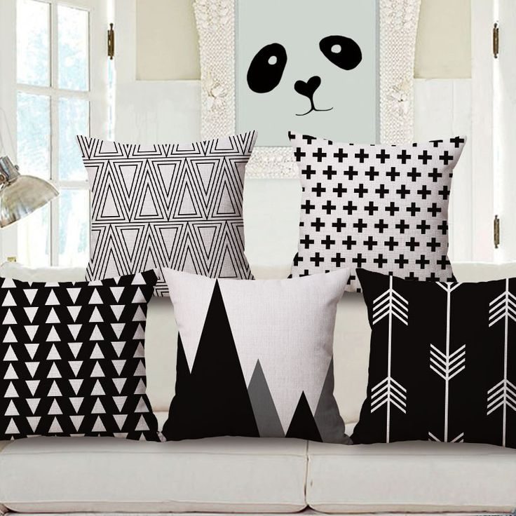 nordic style home decoration of black and white geometric pattern cotton pillow cover in cushion - Black And White Decorative Pillows