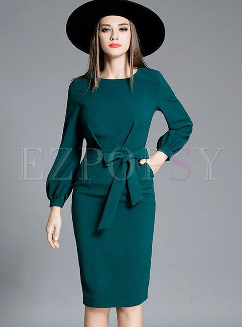 Shop for high quality Work Lantern Sleeve Belted Waist Bodycon Dress online at cheap prices and discover fashion at Ezpopsy.com